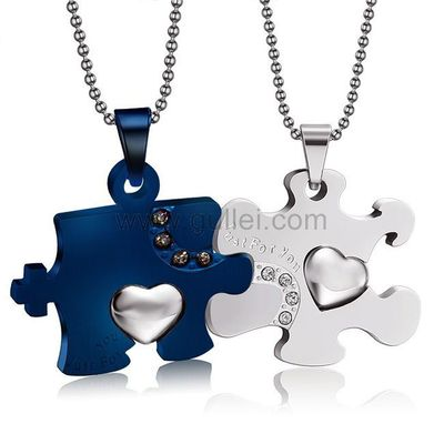 Personalized Jigsaw Puzzle His and Hers Necklaces Set for 2 by Gullei.com