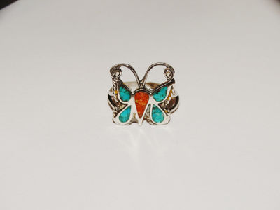 Navajo 925 Sterling Silver Turquoise Coral Butterfly Ring.Size 6.5 $42.75