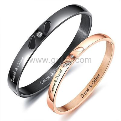 Names Engraved Best Couple Bracelets Gift Set by Gullei.com