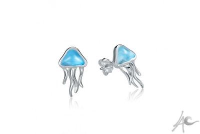 Jellyfish Post Earrings (15x9 mm) - Larimar