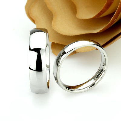 His And Hers Stainless Steel Wedding Band Set, 6mm, 4mm, Classic Domed Ring, Stainless Steel Promise Ring Set, Steel Ring For Couple $71.00