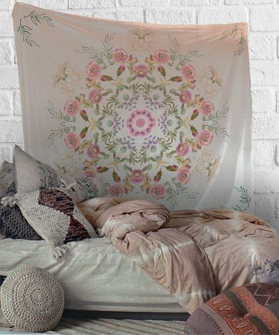 Watercolor Flowers Mandala Tapestry Wall Hanging Meditation Yoga Grunge Hippie $35.00