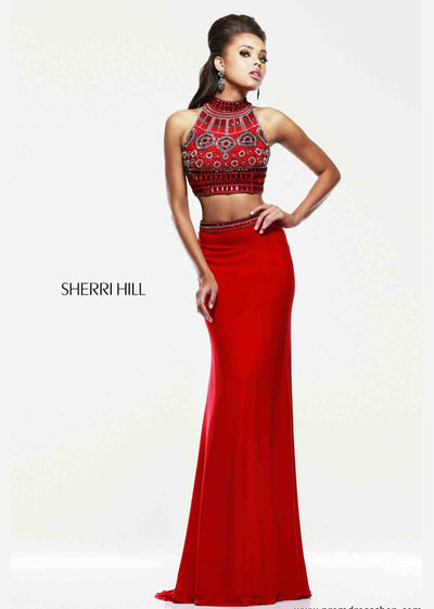 2015 Red/Multi Sexy Back Two Piece Jersey Perfect Evening Gowns
