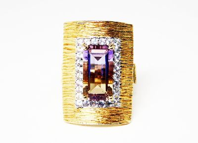 Ametrine Gemstone & Sterling Ring -White Spinel Accents - Gold Plated - Modernist Rectangle Ring - Vintage Pre 1997 - Size 5 Modern $325.00