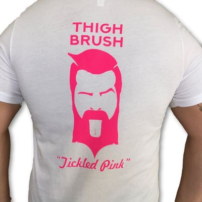 """THIGHBRUSH® - """"Tickled Pink"""" - Men's T-Shirt - White and Pink"""