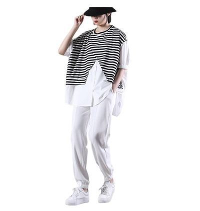 Black and white stitching striped T-shirt women, short-sleeved women's shirt, comfortable top