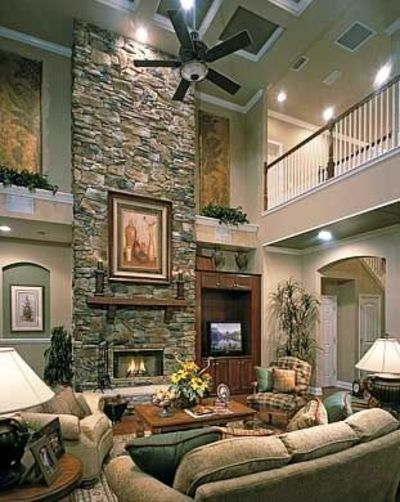 Don 39 t like the fireplace but love the balcony overlookin for Living room with balcony interior