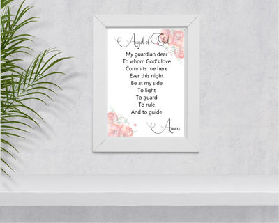 Guardian Angel Printable Catholic Prayer Floral Wall Art $5.00