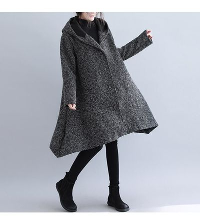 GRAY PLUS SIZE WOMEN WINTER COATS WOOL & BLENDS THICKEN CLOTHING VINTAGE FEMALE HOODED OUTERWEAR
