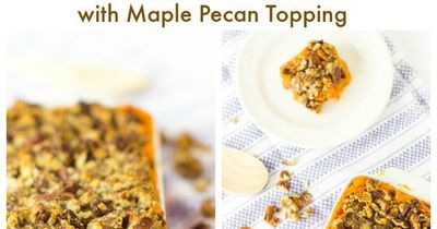 This Skinny Vegan Sweet Potato Casserole with Maple Pecan Topping is a ...