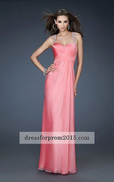 Long Open V-back Chiffon Coral Sweetheart Prom Dress
