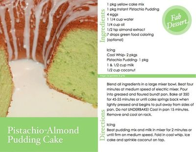 My Pistachio Almond Pudding Cake over at