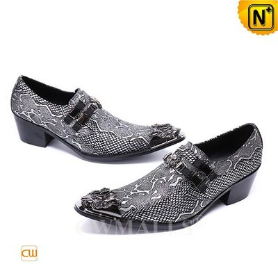 Leather Shoes & Leather Jackets | Men Embossed Leather Dress Shoes CW708211 | CWMALLS.COM