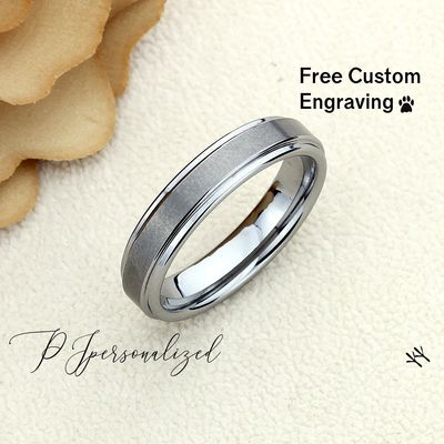 Matte Flat Tungsten Wedding Band Men, Custom Engraving 6mm Tungsten Ring Men, Tungsten Carbide Mens Promise Ring, Couple Gift $67.00
