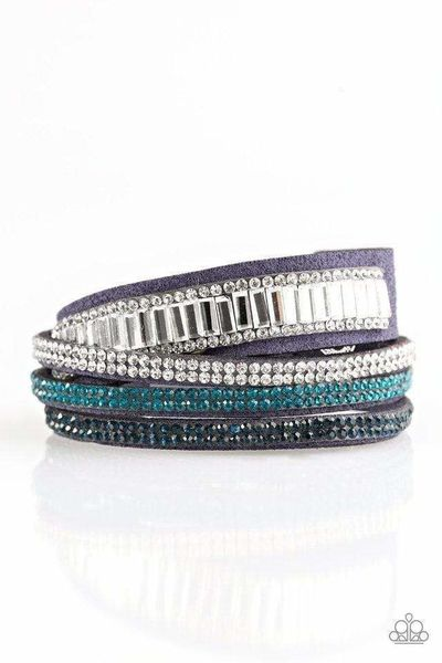 Paparazzi Just In SHOWTIME - Encrusted White and Blue Rhinestone Blue Suede Double Wrap Bracelet $5.00