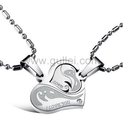 Personalized 2 Heart Interlocking Couples Necklaces Set by Gullei.com