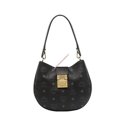 MCM Small Patricia Visetos Hobo In Black