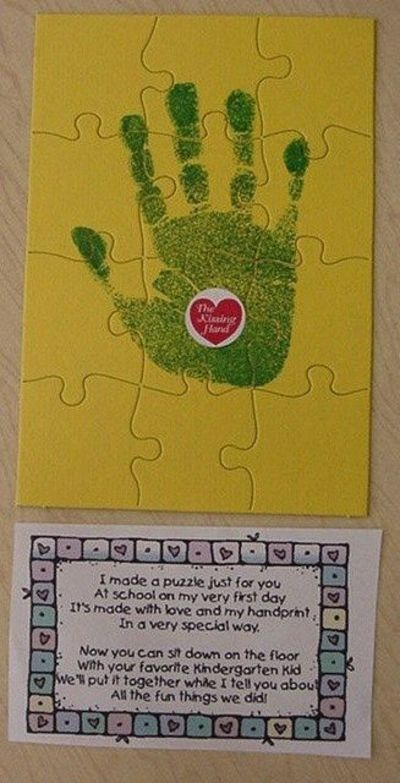 this would be a great first day of preschool activity!! have kids draw around hand