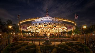 A spinning cinemagraph of King Arthur Carrousel in Fantasyland at Disneyland.