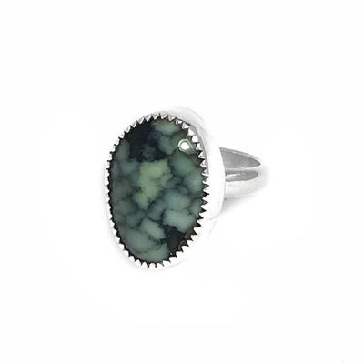 Silver Boho Spider Web Variscite Ring Size 5 | Natural Nevada Variscite Mineral Gemstone | Sterling Silver Stone Jewelry $26.95