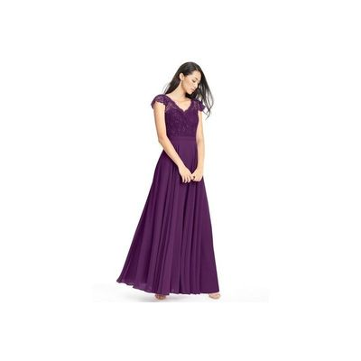 Grape Azazie Cheryl - Chiffon And Lace V Neck Floor Length Illusion Dress - Cheap Gorgeous Bridesmaids Store