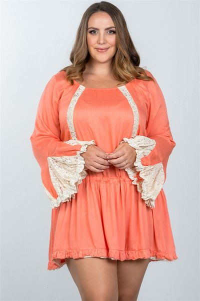 20% discount with BESTDEAL at checkout! Ladies fashion plus size boho lace trim puff cuff dress $24.00