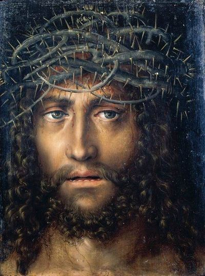 Lucas Cranach the Elder. Weird. This picture makes me realize that in all the pictures I've seen of Jesus, he's rarely looking at me. His eyes are down cast or looking out of frame. This is much more powerful.