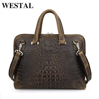 WESTAL 14 inch business briefcase laptop bag man genuine leather bags real leather handbags $208.60