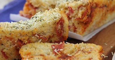 Cheesy pepperoni pizza quick bread 1 cup all purpose flour for Pizza in a mug without baking soda