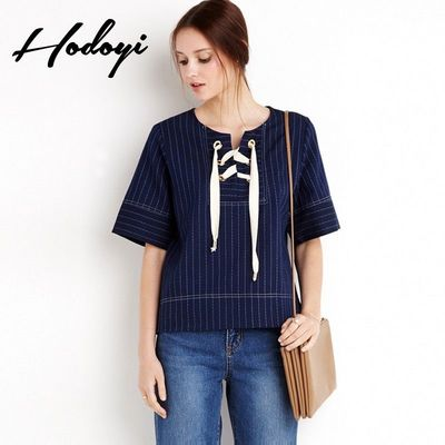 Ladies fall 2017 new sweet College style striped chest strap casual t shirt women - Bonny YZOZO Boutique Store