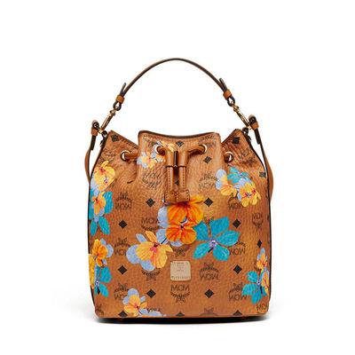 MCM Small Essential Visetos Drawstring Bag In Floral Brown