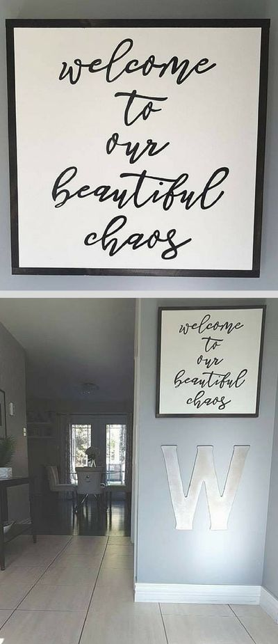 Perfect entryway sign for anyone with young and wild kids! Welcome to our beautiful chaos wood sign, home decor, rustic wall decor, farmhouse decor, living room sign #ad