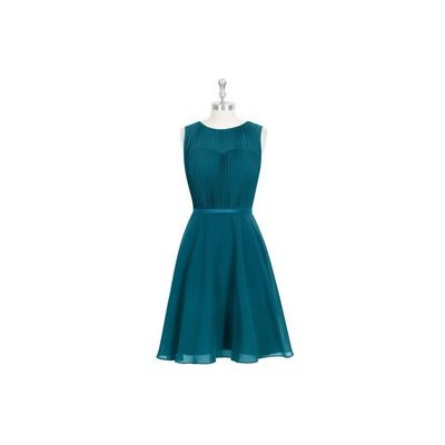 Ink blue Azazie Mariam - Knee Length Chiffon And Charmeuse Scoop Illusion Dress - Charming Bridesmaids Store