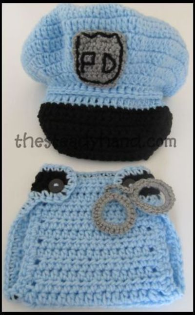 CROCHET PATTERN Newborn Police Hat Diaper Cover by ...