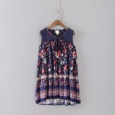 Oversized Printed Summer Tie Casual Lace Sleeveless Top Top - Discount Fashion in beenono
