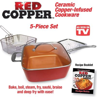 Red Copper Cookware Set - 5 pc - Acoutlet $34.95
