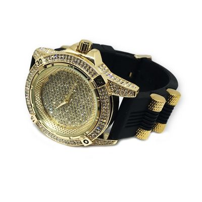 XL heavy Gold Plated Clear Stones Silicone strap with bulets Gold Face Hip Hop Bling Watch £59.95