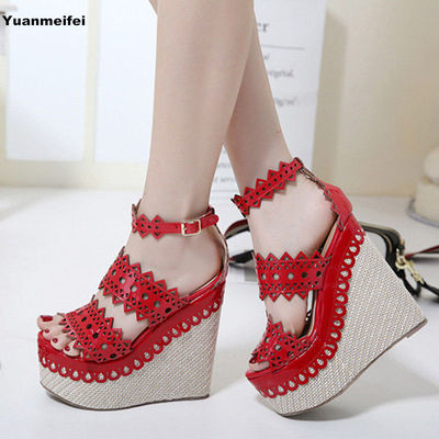 2017 Platform Sandals Women Summer Wedge Sandals High Heel Casual Leather Women Shoes Pumps 15cm