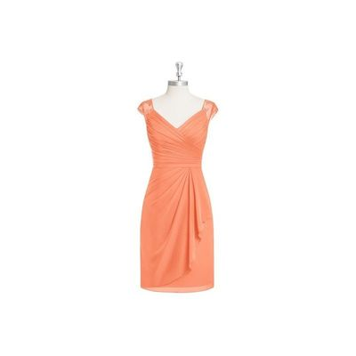 Papaya Azazie Fawne - Illusion Chiffon And Lace Knee Length V Neck Dress - Charming Bridesmaids Store