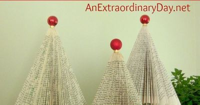 Paperback book Christmas trees are easy to make, plus they provide a whimsical touch to Christmas decor, and are virtually free. Make a forest for fun!