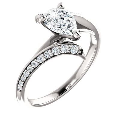 0.75 Ct Pear Diamond Engagement Ring 14k White Gold $1680.64