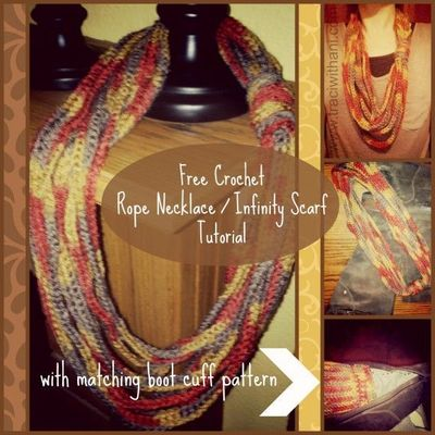Free Crochet Rope Necklace / Infinity Scarf Tutorial + Matching Boot Cuff Pattern