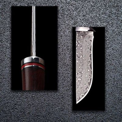 Hand Forged Hunting Knife Fixed Blade Damascus Knife Leather Scabbard Outdoor Camping Knives $108.00