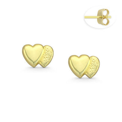 Double Heart Charm Stud Earrings with Push-Back Posts in 14k Yellow Gold - BD-ES037-14Y