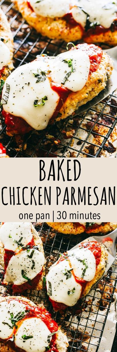 """Baked Chicken Parmesan �€"""" Tender, juicy, crispy and cheesy baked chicken parmesan! It's a one-pan, 30 minute chicken parmesan dinner the whole family will enjoy. #chickenparmesan #healthydinners #chickendinner"""