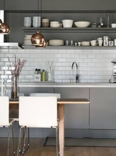Shades of grey and copper accents in this #kitchen  For my kitchen