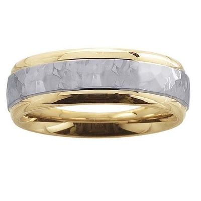 14K Yellow Gold 6mm Hammered Wedding Bands with 14K White Gold Center $710.00