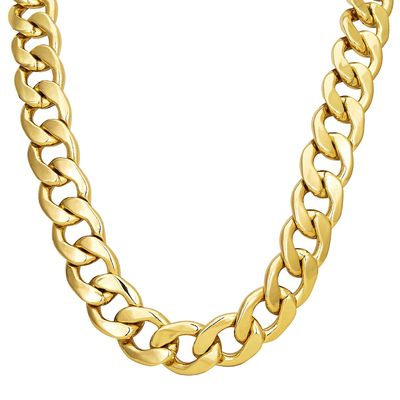 "Men's 9ct Gold FILLED XXL 20mm 30"" Curb Bling Heavy Solid Chain Necklace £29.95"