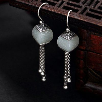 Hetian jade carving earrings / vintage 925 silver earrings / white jade earrings / Dangle & Drop Earrings