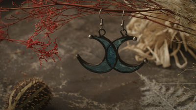 Crescent Moon Earrings with hypoallergenic Earring Hooks, Stain glass, Witchy Earrings, Festival juwelry, Boho Style, half moon multicolor $19.00